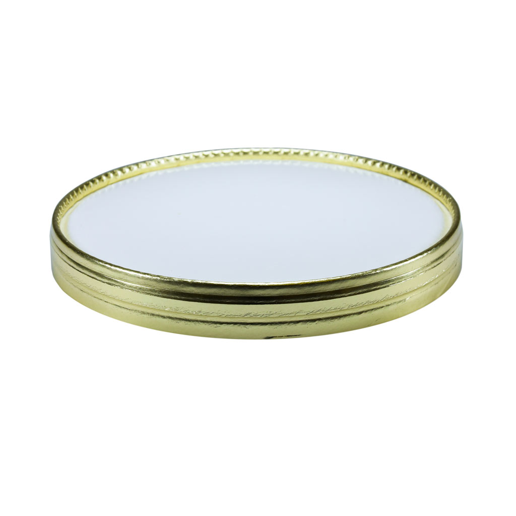 1Ltr White Card Lid Gold Rim Double Coated x 400